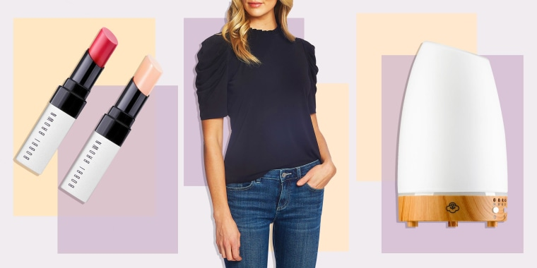Illustration of a Woman wearing a blue shirt, two lipsticks from Bobbi Brown and a Diffuser all on sale at Nordstrom