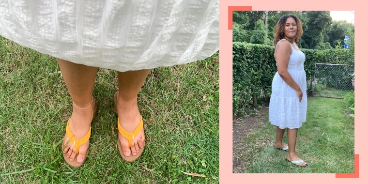 Two images of Writer Kamari Stewart wearing white and yellow flip-flops outside, purchased on Amazon