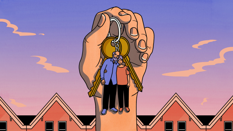 Illustration of a hand holding house keys with a keychain of their mother and father near a row of homes.