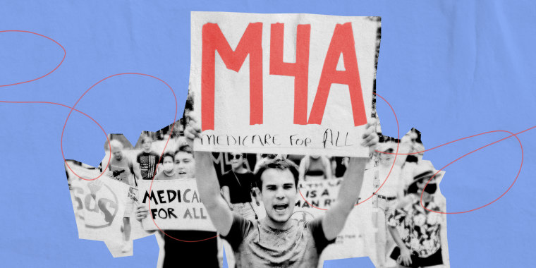 Illustration of a photo showing protesters attending a Medicare for All Rally on July 24, 2021 in Milwaukee.