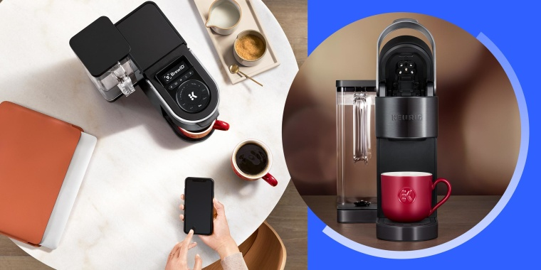 Overhead image of a Woman using her phone and her Keurig wifi and image of the new Keurig Wifi.  Keurig's new K-Supreme Plus Smart coffee maker detects which K-Cup pod you are using and adjusts the brew settings for optimal strength and temperature.