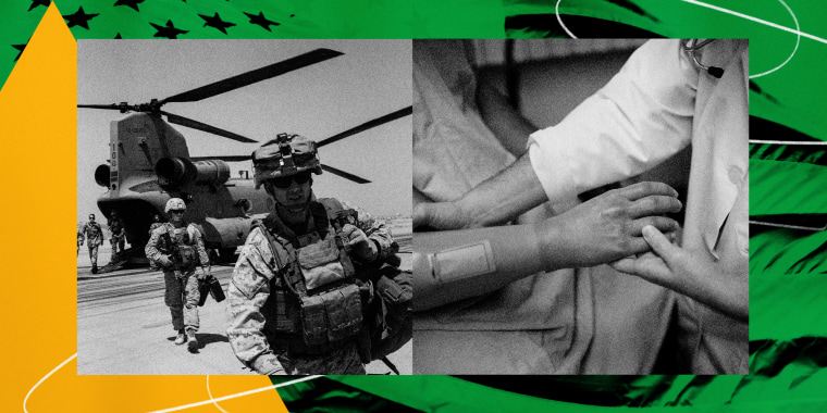 Illustration of American troops in Afghanistan and a wounded veteran's prosthetic arm being held by a doctor.