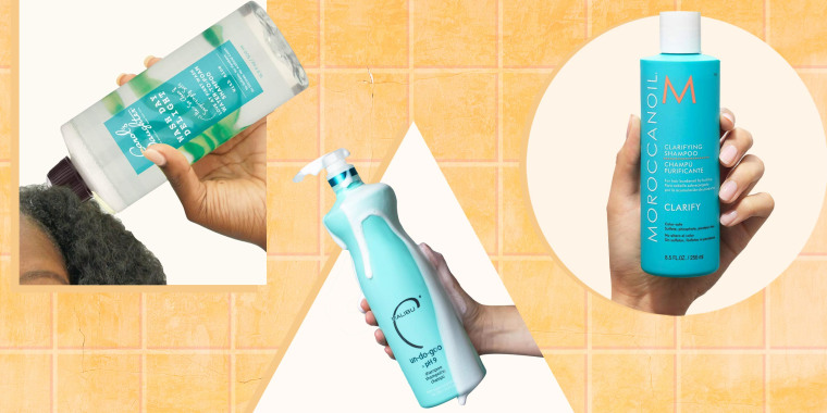 Illustration of three different hands holding clarifying shampoos. Check out the best clarifying shampoos for your hair, including curly hair and fine hair. Shop from Walmart, Ulta and Amazon for brands like Neutrogena and more.