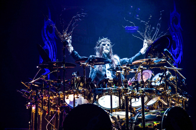 Joey Jordison of Slipknot performs on stage at Hammersmith Apollo on Dec. 2, 2008 in London.