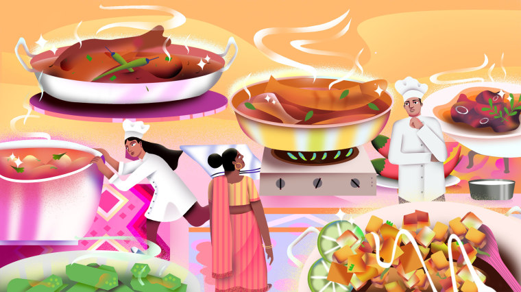 Illustration of Desi chefs standing on a table surrounded by South Asian food.