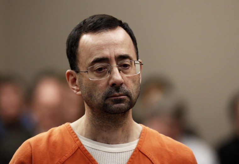 Former USA Gymnastics doctor Larry Nassar appears at Ingham County Circuit Court on Nov. 22, 2017, in Lansing, Mich.