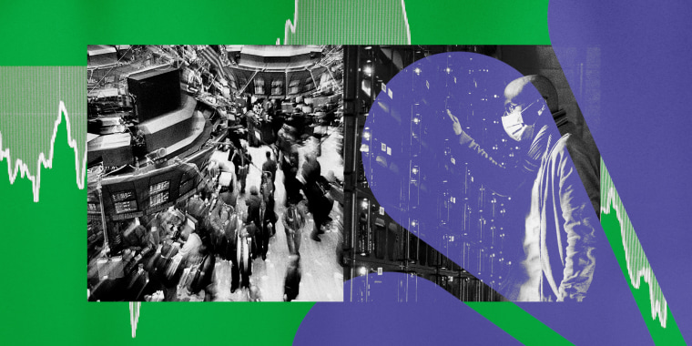Illustration shows photos of the Wall Street Stock Exchange floor in the 1990s and of a man at a cryptocurrency mine.