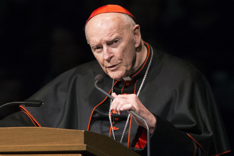 Cardinal Theodore McCarrick speaks during a memorial service in South Bend, Ind., on March 4, 2015.