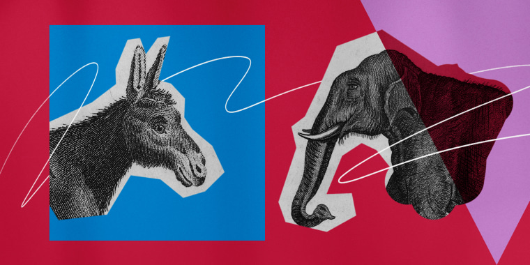Illustration of the Democratic Donkey and Republican Elephant facing one another