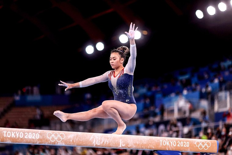Sunisa Lee of Team United States competes on balance beam during the Women's All-Around Final on day six of the Tokyo Olympic Games at Ariake Gymnastics Centre on July 29, 2021.