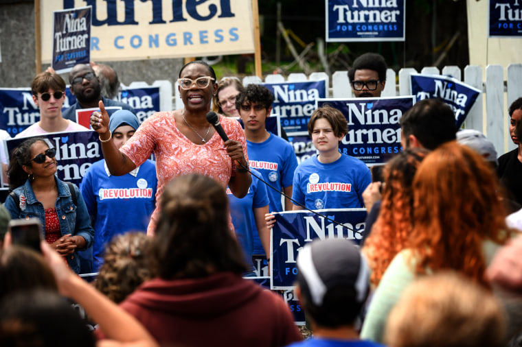Image: Ohio Congressional Candidate Nina Turner speaks at a campaign stop on July 24, 2021 in Cleveland, Ohio.