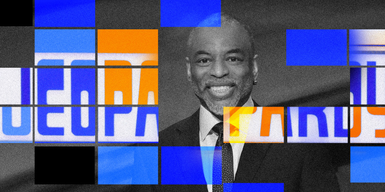Photo illustration: Blue and yellow tiles mosaic reveal the Jeopardy logo over an image of of LeVar Burton.