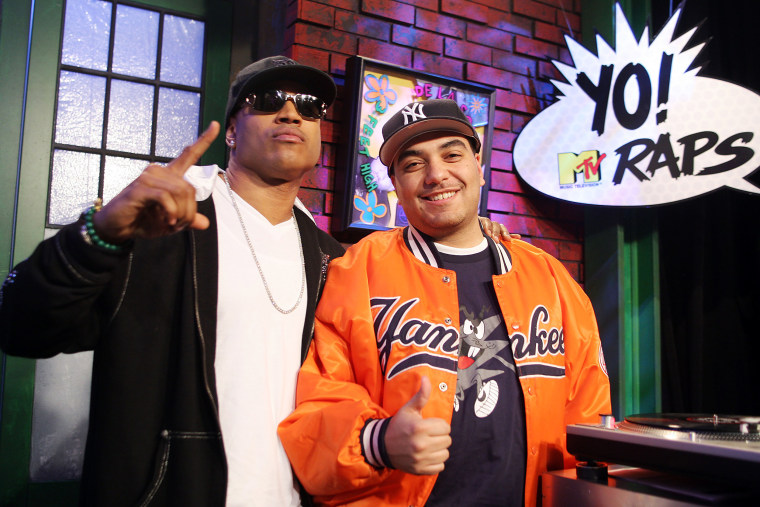 """Image: Rapper LL Cool J, left, and host Cipha Sounds during \""""Yo! MTV Raps\"""" at the MTV Times Square studios April 1, 2008 in New York City."""