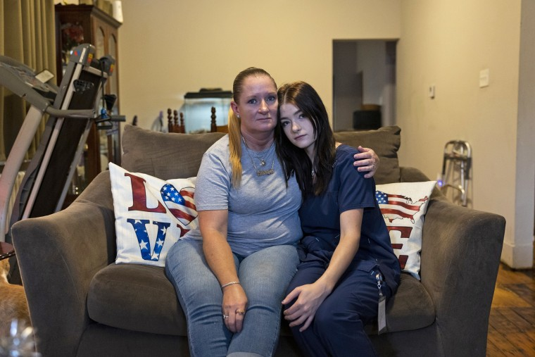 Miltreda Kress with her daughter, Brianna Donahue, in their home in Philadelphia on July 29, 2021.