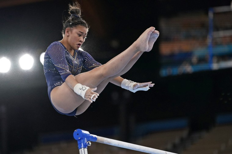 Sunisa Lee of the United States performs on the uneven bars during the artistic gymnastics women's apparatus final at the Tokyo Olympics on Aug. 1, 2021.