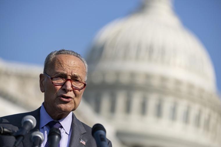 Senate Majority Leader Chuck Schumer, D-N.Y., speaks outside the Capitol on July 28, 2021.