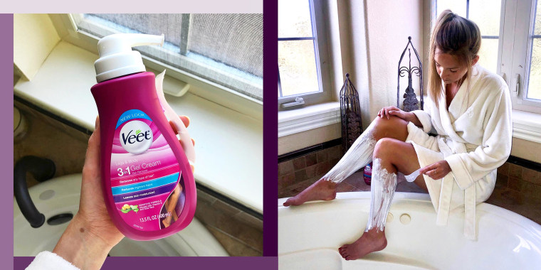 Writer Megan Foster holding a bottle of Veet hair remover and showing how she uses the product