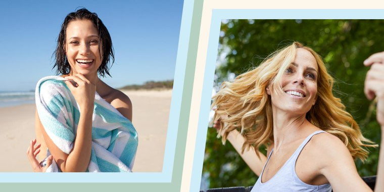 Carefree blond woman outdoors and a Woman laughing on a beach holding a striped towel