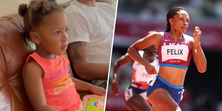 Camryn, Allyson Felix's 2-year-old daughter, had a precious response to seeing clips of her mom running on TV.