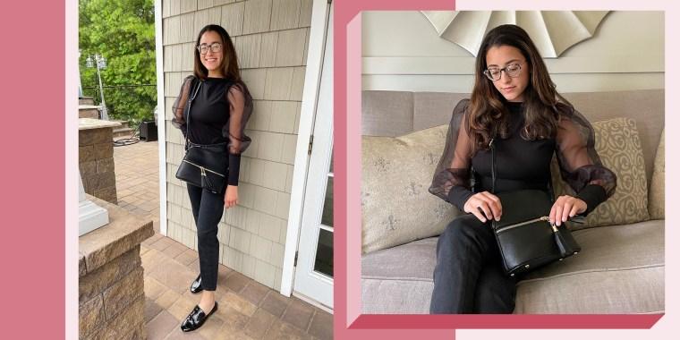 Writer Jillian Ortiz wearing a cross body handbag from Amazon