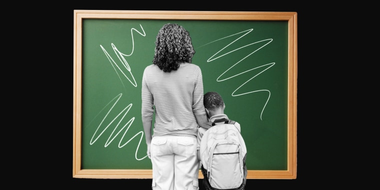 Illustration of kid and mom in front of a scribbled blackboard
