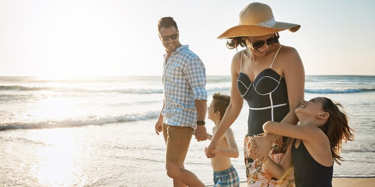Image: Family of four spending the day at the beach