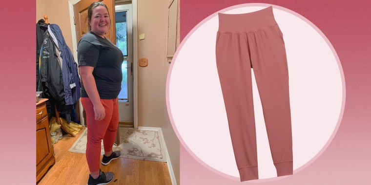 Image of Writer Megan duBois wearing Old Navy High-Waisted PowerSoft 7/8-Length Joggers and an image of the joggers