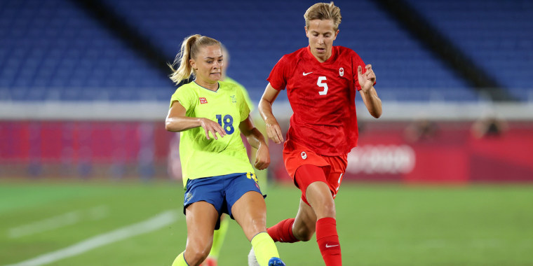 Quinn of Team Canada in action during the Women's gold medal match against Sweden in Yokohama, Japan, on Friday.