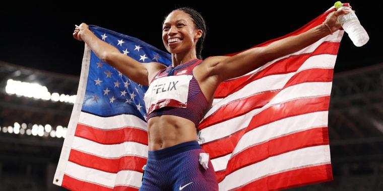 Allyson Felix of Team USA after winning the bronze medal.