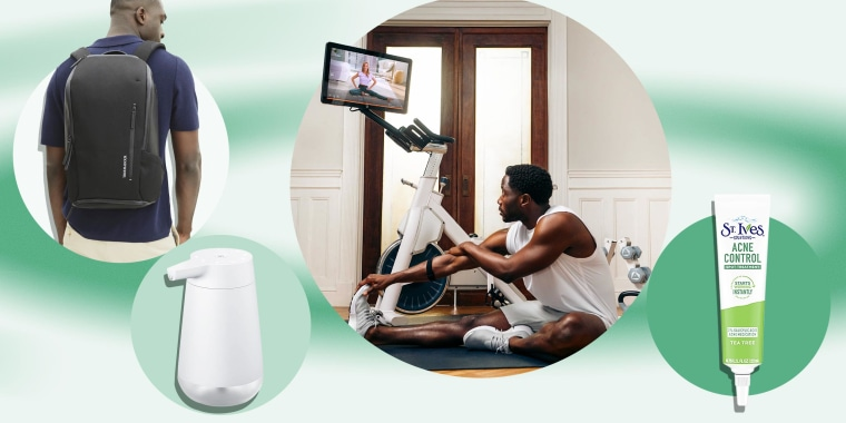 Illustration of the Amazon introduces Smart Soap Dispenser, Man wearing a Troubadour backpack, the St. Ives acne solutions and a lifestyle of the new MYX fitness bike