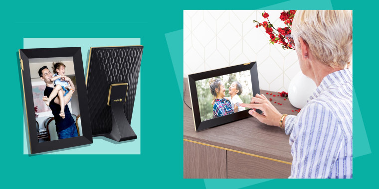 Image of a touchscreen Nixplay Picture Frame and a woman using the touchscreen picture frame. Check out the Nixplay 10.1-inch digital smart photo touchscreen frame. See how the new frame can still be controlled through the Nixplay app, your phone and more