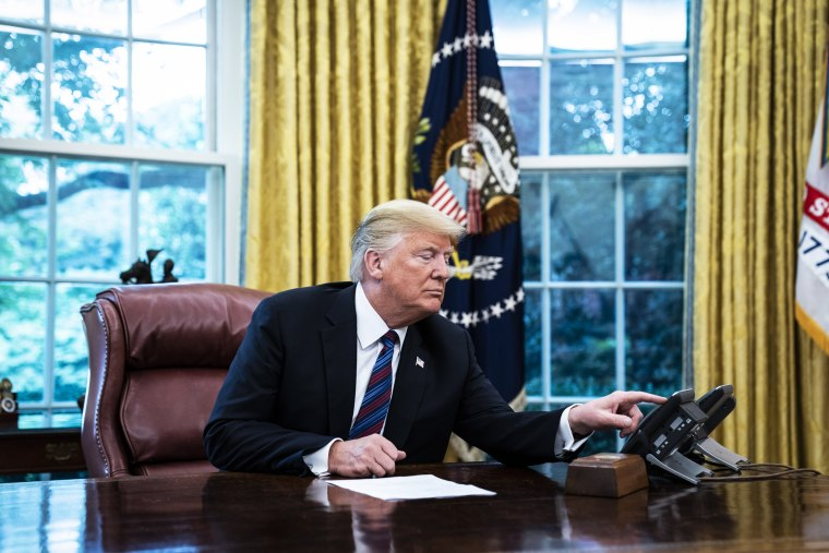 President Donald J. Trump speaks with Mexican President Enrique Pe?a Nieto by phone on Aug 27, 2018, in Washington.