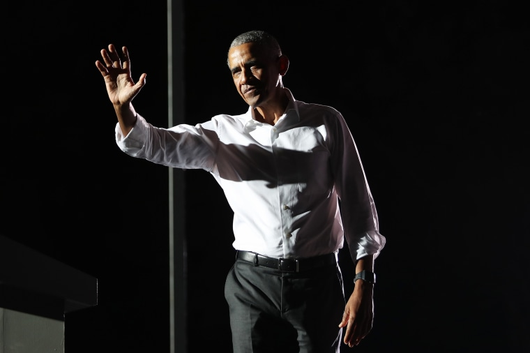 Former President Barack Obama leaves after speaking in support of Democratic presidential nominee Joe Biden during a drive-in rally in Miami on Nov. 2, 2020.
