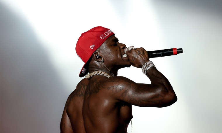 DaBaby performs on stage during Rolling Loud at the Hard Rock Stadium in Miami Gardens, Florida.