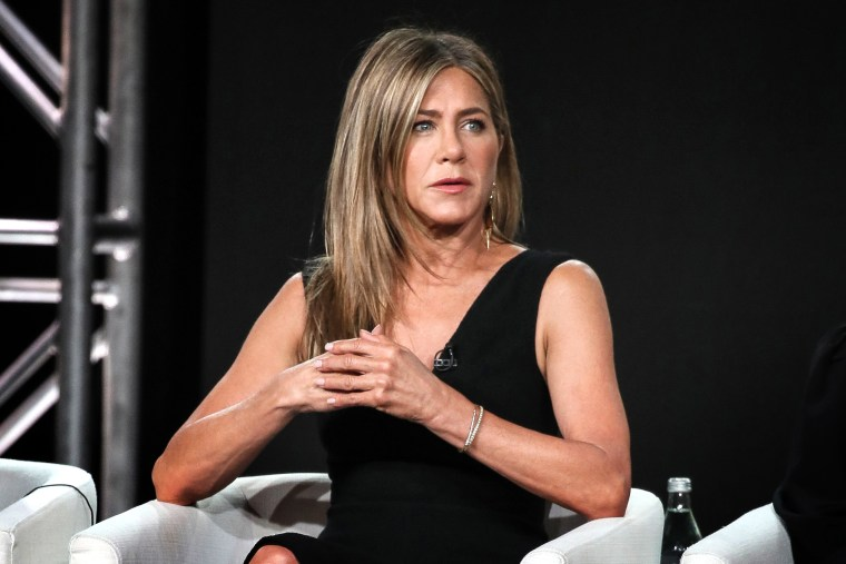"""Jennifer Aniston of \""""The Morning Show\"""" speaks onstage during the Apple TV+ segment of the 2020 Winter TCA Tour on Jan. 19, 2020 in Pasadena, Calif."""