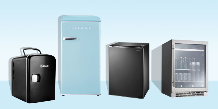 Illustration of four mini fridges in different colors and shapes