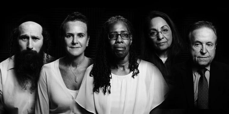 Photo collage: Portraits of Erik Tischler, Mary Adams, Sheila Moody, Daisy Khan and Dr. Robert Lahita.