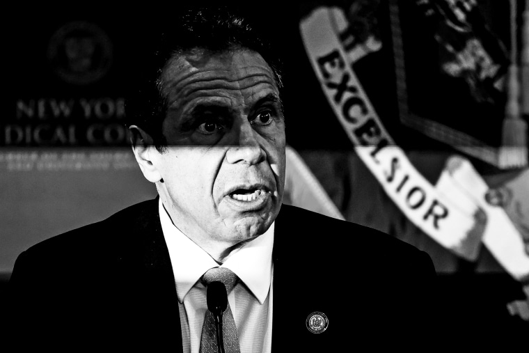 New York Governor Andrew Cuomo speaks at his daily briefing at New York Medical College in Valhalla, N.Y., on May 7, 2020.