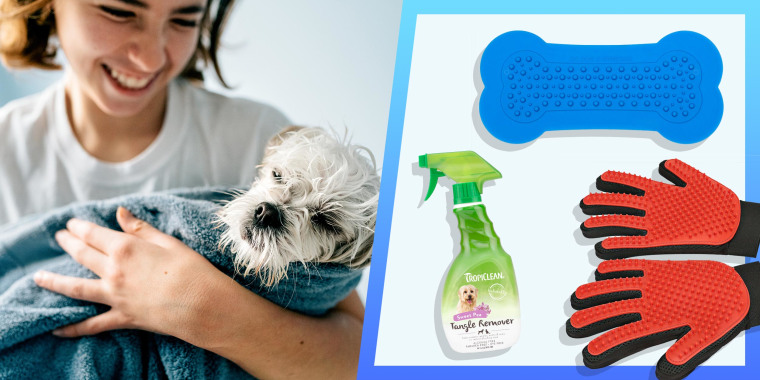 Illustration of a Woman holding a dog in a towel and the Lick Lick Pad Dog Distraction Lick Mat, DELOMO Pet Grooming Glove and TropiClean Tangle Remover Spray for Pets