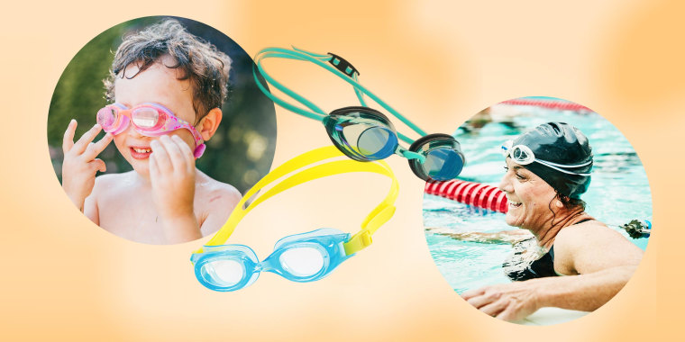 Illustration of a Boy wearing swim googles, a Woman in the pool with swim goggles on her head and a pair of kids and adults swim goggles