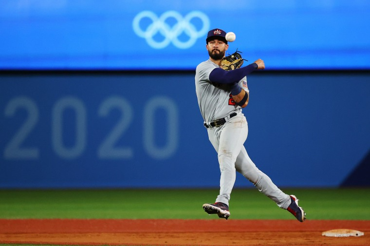 Image: Eddy Alvarez in action against Japan at the Tokyo Olympics on Aug. 2, 2021.