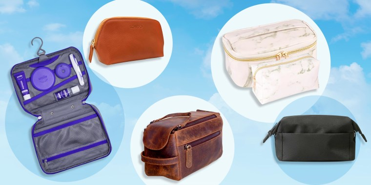 Illustration of different styles and colors of top-rated toiletry bags, to safely house your favorite wellness products. See the best travel toiletry and makeup bags for men and women. Shop top-rated styles from Amazon, Target, Walmart, Ulta and more.
