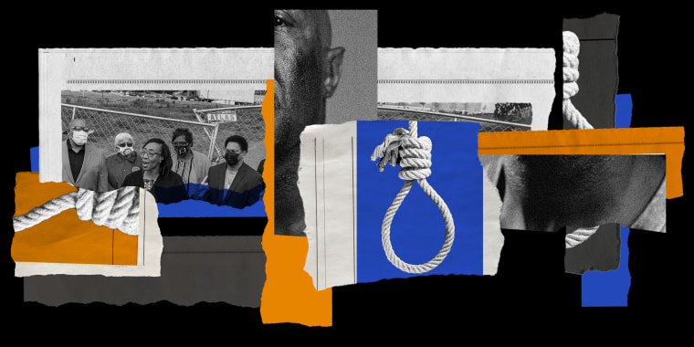 Photo illustration: Fragments of images of a a press conference on a construction site, a hanging noose, and an African American man's face and neck on newspaper pieces.