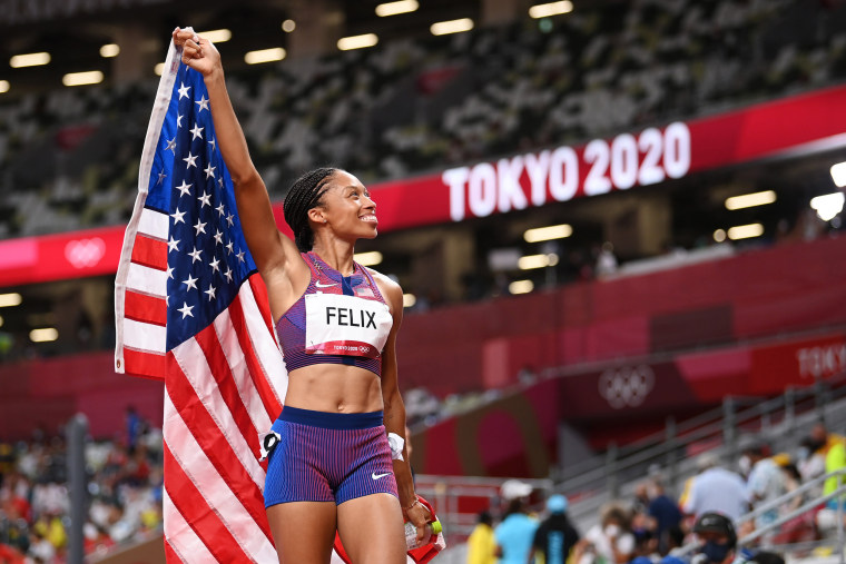 Image: Allyson Felix after winning the bronze medal in the Women's 400m Final at the Tokyo Olympic Games on Aug. 6, 2021.