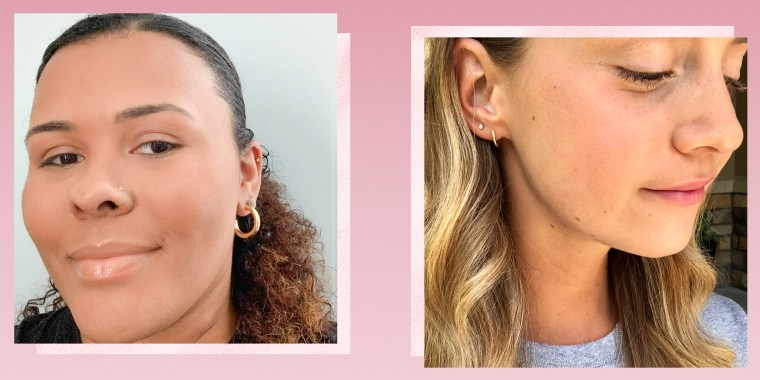 Two different Writers waring gold hoop earrings from Amazon