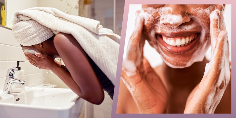 Illustration of a Cropped shot of a young woman washing her face in the basin at home and a studio shot of an unrecognizable woman washing her face against a white background