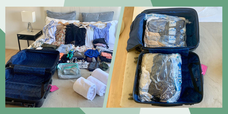 Illustration of a before and after suitcase being packed using Travel compression bags