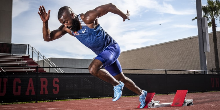 Track and field athlete Cameron Burrell is seen training at the University of Houston on Nov. 19, 2019.