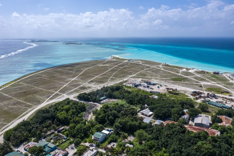 Image: An area of reclaimed land is pictured on the island of Thulusdhoo on Dec.10, 2019 near Male, Maldives.