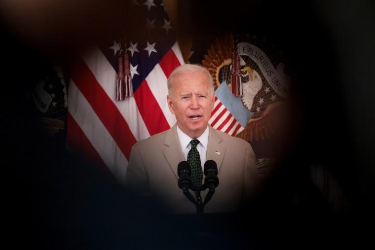 President Joe Biden speaks in the East Room of the White House on Aug. 6, 2021.